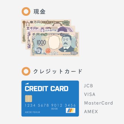 現金またはクレジットカード